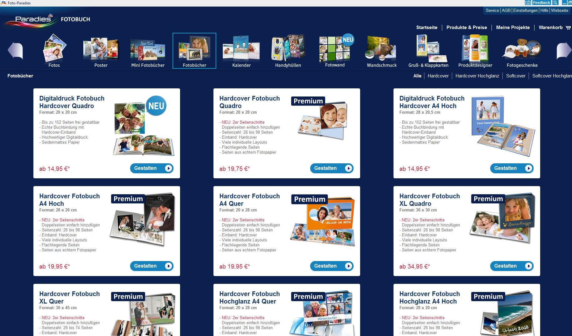 Testbericht Fotoparadies - Software - Fotobücher