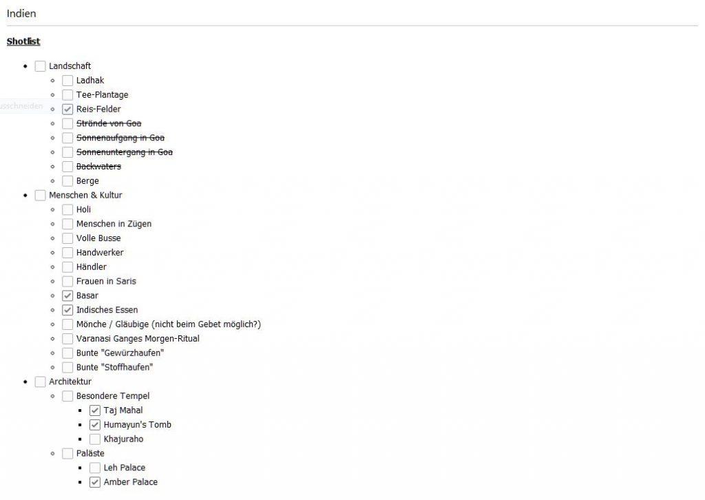Ausschnitt meiner Shotlist für Indien