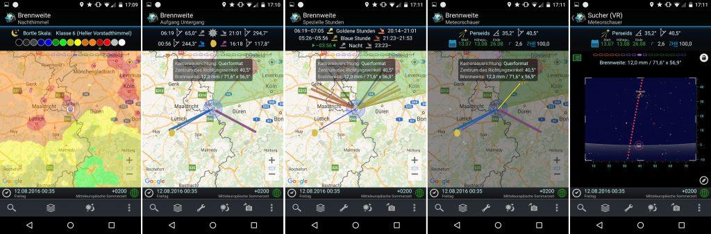 PlanIt! für Fotografen - Screenshots für Perseiden - Aachen