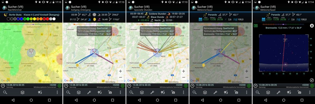 PlanIt! für Fotografen - Screenshots für Perseiden - Bayern