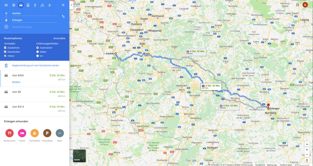 Google-Maps ausschnitt der Routenplanung von Aachen nach Erlangen