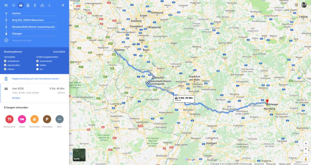 Google-Maps Ausschnitt mit neu geplanter Route über Landstraße und mit Abstecher zu Fotospots
