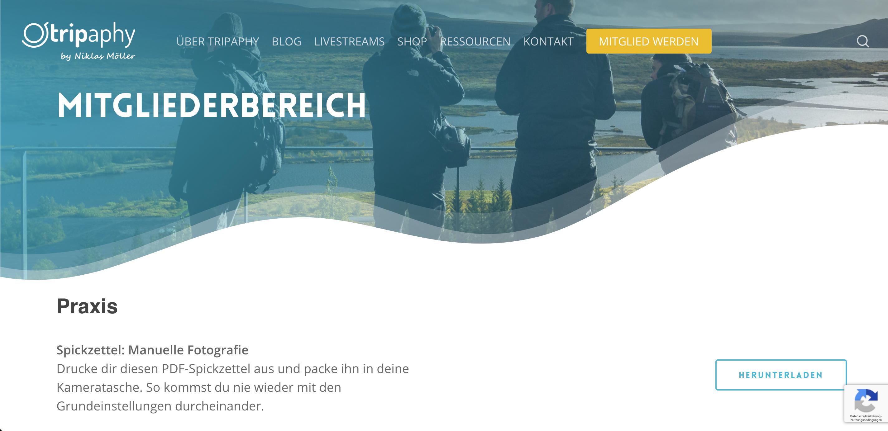 Bildschirmfoto des Mitgliederbereiches